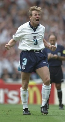 22 Jun 1996:  Stuart Pearce of England celebrates after scoring his penalty during the European soccer championship match between England and Spain at Wembley Stadium, London.                                          England won the match after extra time