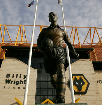 The statue of Billy Wright outside of the stand named after him at Wolves' Molineux stadium