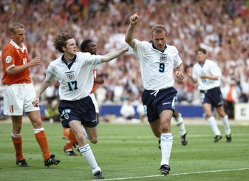 Alan Shearer was in superb form at Euro '96, scoring twice in a memorable 4-1 win over Holland