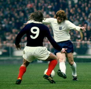 Alan Ball in action versus Scotland