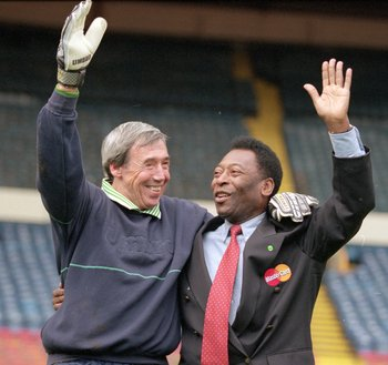 Gordon Banks with Pele, the man he saved so memorably from in the 1970 World Cup