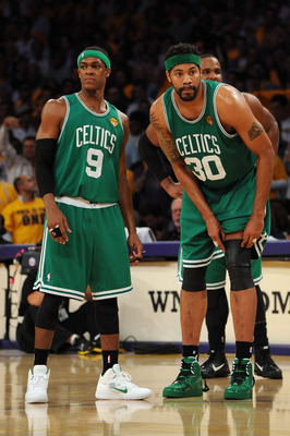 LOS ANGELES, CA - JUNE 03:  (L-R) Rajon Rondo #9 and Rasheed Wallace #30 of the Boston Celtics look on in the second half against the Los Angeles Lakers in Game One of the 2010 NBA Finals at Staples Center on June 3, 2010 in Los Angeles, California.  NOTE