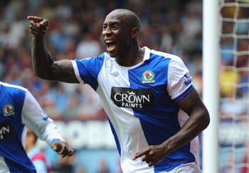 LONDON, ENGLAND - MAY 07:  Jason Roberts of Blackburn Rovers celebrates scoring the opening goal during the Barclays Premier League match between West Ham United and Blackburn Rovers at the Boleyn Ground on May 7, 2011 in London, England.  (Photo by Mike