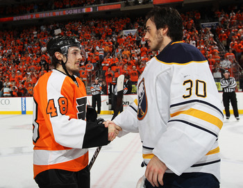 PHILADELPHIA, PA - APRIL 26:  Danny Briere #48 of the Philadelphia Flyers shakes hands with Ryan Miller #30 of the Buffalo Sabres after the Flyers defeated the Sabres 5 to 2 in Game Seven of the Eastern Conference Quarterfinals during the 2011 NHL Stanley