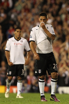 LONDON, ENGLAND - MAY 09:  Clint Dempsey of Fulham reacts during the Barclays Premier League match between Fulham and Liverpool at Craven Cottage on May 9, 2011 in London, England.  (Photo by Scott Heavey/Getty Images)