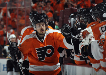 PHILADELPHIA, PA - APRIL 30:  Danny Briere #48 of the Philadelphia Flyers celebrates a Flyers goal against the Boston Bruins in Game One of the Eastern Conference Semifinals during the 2011 NHL Stanley Cup Playoffs at the Wells Fargo Center on April 30, 2