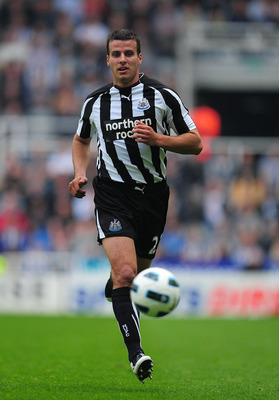 NEWCASTLE UPON TYNE, ENGLAND - MAY 07:  Newcastle player Steven Taylor in action during the Barclays  Premier League game between Newcastle United and Birmingham City at St James' Park on May 7, 2011 in Newcastle upon Tyne, England.  (Photo by Stu Forster