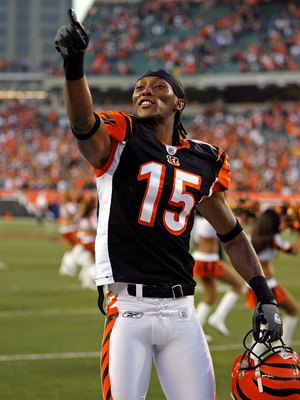CINCINNATI - SEPTEMBER 27: Chris Henry #15 of the Cincinnati Bengals is pictured during the NFL game against the Pittsburgh Steelers at Paul Brown Stadium on September 27, 2009 in Cincinnati, Ohio.  The Bengals won 23-20.  (Photo by Andy Lyons/Getty Image