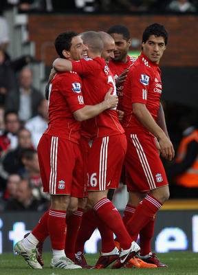 LONDON, ENGLAND - MAY 09:  Maxi Rodriguez of Liverpool celebrates the opening goal  during the Barclays Premier League match between Fulham and Liverpool at Craven Cottage on May 9, 2011 in London, England.  (Photo by Scott Heavey/Getty Images)