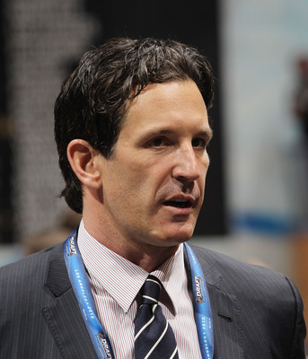 LOS ANGELES, CA - JUNE 25: Brendan Shanahan of the NHL works the draft floor during the 2010 NHL Entry Draft at Staples Center on June 25, 2010 in Los Angeles, California. (Photo by Bruce Bennett/Getty Images)