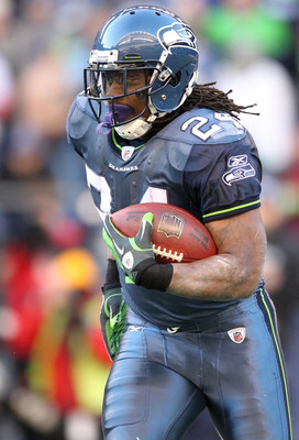 SEATTLE, WA - NOVEMBER 28:  Running back Marshawn Lynch #24 of the Seattle Seahawks rushes against the Kansas City Chiefs at Qwest Field on November 28, 2010 in Seattle, Washington. (Photo by Otto Greule Jr/Getty Images)