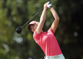 SINGAPORE - FEBRUARY 27:  Michelle Wie of the USA hits her tee shot on the 15th hole during the final round of the HSBC Women's Champions 2011 at the Tanah Merah Country Club on February 27, 2011 in Singapore, Singapore.  (Photo by Scott Halleran/Getty Im