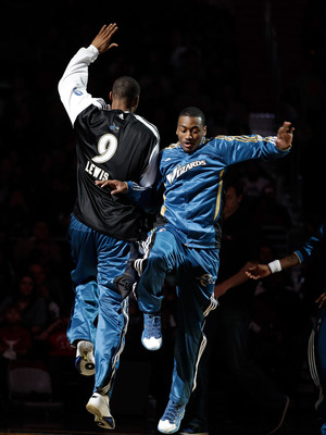WASHINGTON, DC - FEBRUARY 26: Rashard Lewis #9  and John Wall #2 (R) of the Washington Wizards are introduced before the start of an NBA game against the Dallas Mavericks at the Verizon Center on February 26, 2011 in Washington, DC. NOTE TO USER: User exp