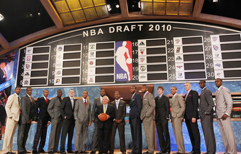 NEW YORK - JUNE 24:  NBA Draft prospects stand with NBA Commisioner David Stern prior to the NBA Draft at Madison Square Garden on June 24, 2010 in New York City. NOTE TO USER: User expressly acknowledges and agrees that, by downloading and or using this