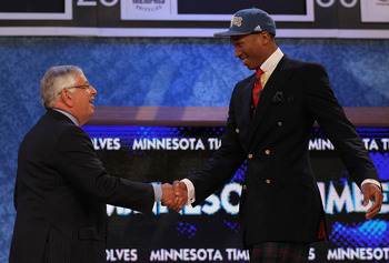 NEW YORK - JUNE 24:  Wesley Johnson stands with NBA Commisioner David Stern after being drafted fourth overall by the Minnesota Timberwolves at Madison Square Garden on June 24, 2010 in New York City.  NOTE TO USER: User expressly acknowledges and agrees