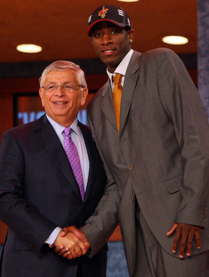 NEW YORK - JUNE 25:  NBA Commissioner David Stern poses for a photograph with the 30th overall draft pick by the Cleveland Cavaliers,  Christian Eyenga during the 2009 NBA Draft at the Wamu Theatre at Madison Square Garden June 25, 2009 in New York City.