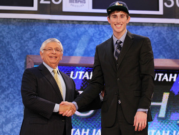 NEW YORK - JUNE 24:  Gordon Hayward stands with NBA Commisioner David Stern after being drafted ninth by  The Utah Jazz at Madison Square Garden on June 24, 2010 in New York City.  NOTE TO USER: User expressly acknowledges and agrees that, by downloading