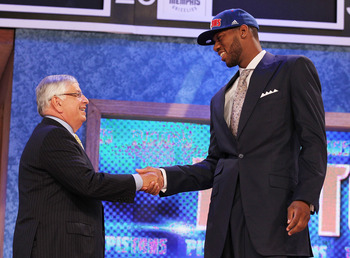 NEW YORK - JUNE 24:  Gregory Monroe stands with NBA Commisioner David Stern after being drafted seventh by  the Detoit Pistons at Madison Square Garden on June 24, 2010 in New York, New York City.  NOTE TO USER: User expressly acknowledges and agrees that