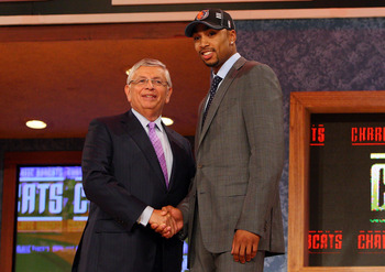 NEW YORK - JUNE 25:  NBA Commissioner David Stern poses for a photograph with the twelfth overall draft pick by the Charlotte Bobcats, Gerald Henderson during the 2009 NBA Draft at the Wamu Theatre at Madison Square Garden June 25, 2009 in New York City.