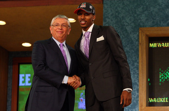 NEW YORK - JUNE 25:  NBA Commissioner David Stern poses for a photograph with the tenth overall draft pick by the Milwaukee Bucks,  Brandon Jennings during the 2009 NBA Draft at the Wamu Theatre at Madison Square Garden June 25, 2009 in New York City. NOT
