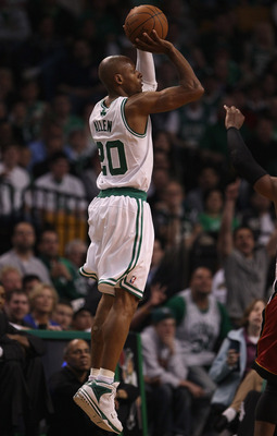 BOSTON, MA - MAY 07:  Ray Allen #20 of the Boston Celtics takes a shot in the fourth quarter against the Miami Heat in Game Three of the Eastern Conference Semifinals in the 2011 NBA Playoffs on May 7, 2011 at the TD Garden in Boston, Massachusetts.  The