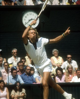 JUL 1975:  A PICTURE SHOWING BJORN BORG OF SWEDEN IN ACTION DURING THE WIMBLEDON TENNIS TOURNAMENT  Mandatory Credit: Tony Duffy/ALLSPORT