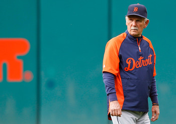 CLEVELAND - APRIL 30:  Manager Jim Leyland #10 of the Detroit Tigers walks around during batting practice prior to the game against the Cleveland Indians on April 30, 2011 at Progressive Field in Cleveland, Ohio.  (Photo by Jared Wickerham/Getty Images)