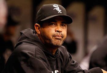 ST PETERSBURG, FL - APRIL 21:  Manager Ozzie Guillen #13 of the Chicago White Sox smiles against the Tampa Bay Rays during the game at Tropicana Field on April 21, 2011 in St. Petersburg, Florida.  (Photo by J. Meric/Getty Images)
