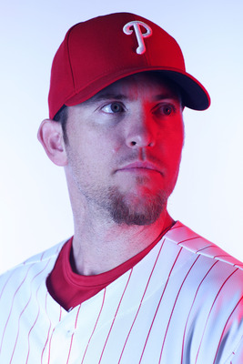 CLEARWATER, FL - FEBRUARY 22:  (EDITORS NOTE: Image was shot with a colored gel on lights) Brad Lidge #54 of the Philadelphia Phillies poses for a photo during Spring Training Media Photo Day at Bright House Networks Field on February 22, 2011 in Clearwat