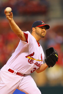 ST. LOUIS, MO - APRIL 24: Starter Jake Westbrook #35 of the St. Louis Cardinals pitches against the Cincinnati Reds at Busch Stadium on April 24, 2011 in St. Louis, Missouri.  (Photo by Dilip Vishwanat/Getty Images)