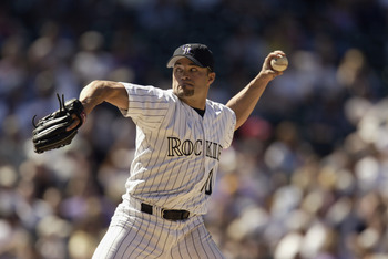 DENVER - APRIL 17:  Mike Hampton #10 of the Colorado Rockies pitches against the Los Angeles Dodgers during the game at Coors Field in Denver, Colorado on April 17, 2002. The Dodgers won 6-3. (Photo by Brian Bahr/Getty Images)