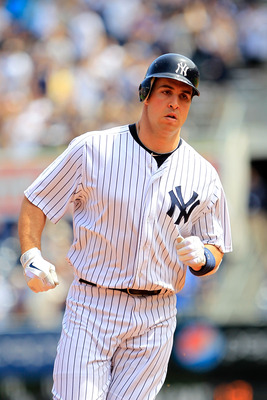 NEW YORK, NY - MAY 01:  Mark Teixeira #25 of the New York Yankees runs the bases following his home run in the first inning against the Toronto Blue Jays at Yankee Stadium on May 1, 2011 in the Bronx borough of New York City.  (Photo by Chris Trotman/Gett