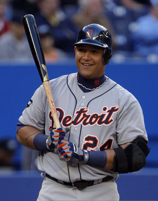 TORONTO, CANADA - MAY 9: Miguel Cabrera #24 laughs off a strike during MLB action against the Toronto Blue Jaysat the Rogers Centre May 9, 2011 in Toronto, Ontario, Canada. (Photo by Abelimages/Getty Images)