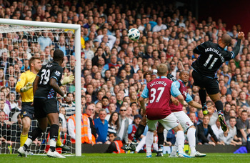 LONDON, ENGLAND - APRIL 16:  Gabriel Agbonlahor of Aston Villa heads towards goal and scores the winning goal past Robert Green of West Ham United during the Barclays Premier League match between West Ham United and Aston Villa at the Boleyn Ground on Apr