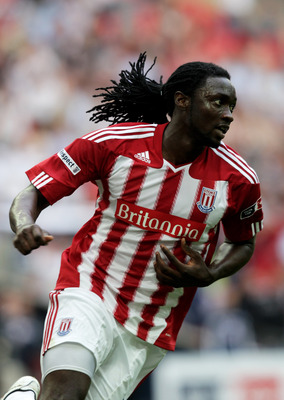 LONDON, ENGLAND - APRIL 17:  Kenwyne Jones of Stoke celebrates scoring their third goal during the FA Cup sponsored by E.ON semi final match between Bolton Wanderers and Stoke City at Wembley Stadium on April 17, 2011 in London, England.  (Photo by Ross K