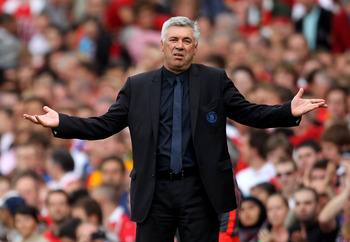 MANCHESTER, ENGLAND - MAY 08:  Chelsea Manager Carlo Ancelotti reacts during the Barclays Premier League match between Manchester United and Chelsea at Old Trafford on May 8, 2011 in Manchester, England.  (Photo by Alex Livesey/Getty Images)