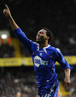 LONDON, ENGLAND - FEBRUARY 05:  Daniel Sturridge of Bolton Wanderers celebrates scoring the equalising goal during the Barclays Premier League match between Tottenham Hotspur and Bolton Wanderers at White Hart Lane on February 5, 2011 in London, England.