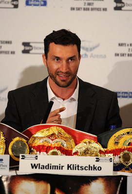 LONDON, ENGLAND - MAY 10:  Wladimir Klitschko talks to the press during the David Haye v Wladimir Klitschko Press Conference at the Park Plaza Hotel on May 10, 2011 in London, England.  (Photo by Christopher Lee/Getty Images)
