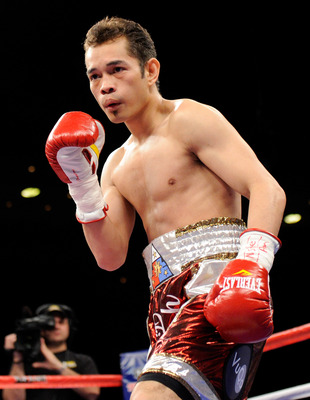 LAS VEGAS, NV - FEBRUARY 19:  Nonito Donaire of the Philippines is seen in the ring as he fights Fernando Montiel of Mexico during their WBC/WBO bantamweight championship bout at the Mandalay Bay Events Center February 19, 2011 in Las Vegas, Nevada. Donai