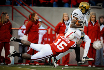 LINCOLN, NE - NOVEMBER 26: Paul Richardson #80 of the Colorado Buffaloes beats Alfonzo Dennard #15 of the Nebraska Cornhuskers for a touchdown during the second half of their game at Memorial Stadium on November 26, 2010 in Lincoln, Nebraska. Nebraska def
