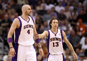 PHOENIX, AZ - MARCH 30:  Marcin Gortat #4 and Steve Nash #13 of the Phoenix Suns during the NBA game against the Oklahoma City Thunder at US Airways Center on March 30, 2011 in Phoenix, Arizona.  The Thunder defeated the Suns 116-98. NOTE TO USER: User ex