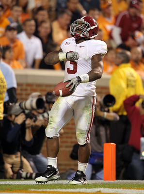 KNOXVILLE, TN - OCTOBER 23:  Trent Richardson #3 of the Alabama Crimson Tide celebrates after running for a touchdown during the SEC game against the Tennessee Volunteers at Neyland Stadium on October 23, 2010 in Knoxville, Tennessee.  (Photo by Andy Lyon