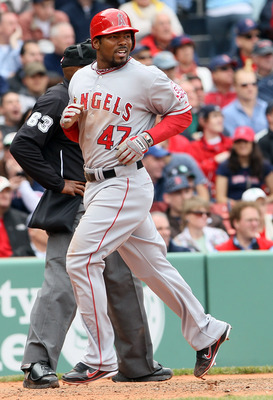 BOSTON, MA - MAY 05:  Howard Kendrick #47 of the Los Angeles Angels scores in the fourth inning against the Boston Red Sox on May 5, 2011 at Fenway Park in Boston, Massachusetts.  (Photo by Elsa/Getty Images)