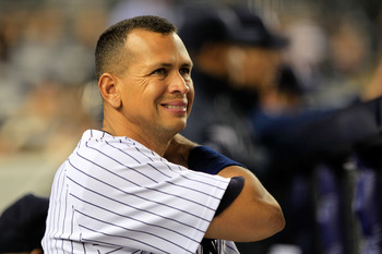 NEW YORK, NY - APRIL 25:  Alex Rodriguez #13 of the New York Yankees looks on from the dugout during the game against the Chicago White Sox at Yankee Stadium on April 25, 2011 in the Bronx borough of New York City.  (Photo by Chris Trotman/Getty Images)