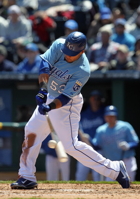 KANSAS CITY, MO - APRIL 16:  Melky Cabrera #53 of the Kansas City Royals connects during the game against the Seattle Mariners on April 16, 2011 at Kauffman Stadium in Kansas City, Missouri.  (Photo by Jamie Squire/Getty Images)