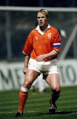 1992:  Ronald Koeman of Holland in action during the European Championships match against Denmark played in Sweden.  The match finished in a 2-2 draw. \ Mandatory Credit: Shaun Botterill /Allsport