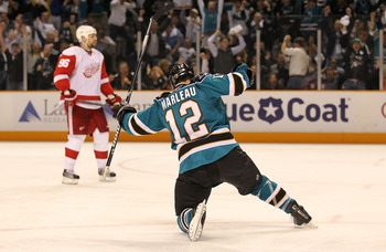 SAN JOSE, CA - MAY 8:  Patrick Marleau #12 of the San Jose Sharks celebrates after scoring the game winning goal against the Detroit Red Wings in Game Five of the Western Conference Semifinals during the 2010 NHL Stanley Cup Playoffs at HP Pavilion on May