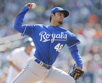 DETROIT, MI - APRIL 10:  Joakim Soria #48 of the Kansas City Royals throws a ninth inning pitch while playing the Detroit Tigers at Comerica Park on April 10, 2011 in Detroit, Michigan. Kansas City won the game 9-5. (Photo by Gregory Shamus/Getty Images)