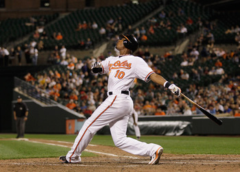 BALTIMORE, MD - APRIL 28:  Adam Jones #10 of the Baltimore Orioles at the plate against the Boston Red Sox at Oriole Park at Camden Yards on April 28, 2011 in Baltimore, Maryland.  (Photo by Rob Carr/Getty Images)