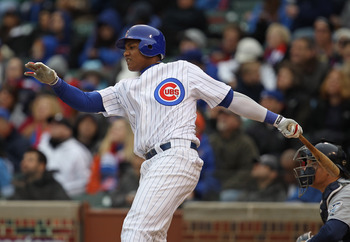CHICAGO, IL - APRIL 20: Starlin Castro #13 of the Chicago Cubs takes a swing against the San Diego Padres at Wrigley Field on April 20, 2011 in Chicago, Illinois. The Cubs defeated the Padres 2-1 in 11 innings. (Photo by Jonathan Daniel/Getty Images)